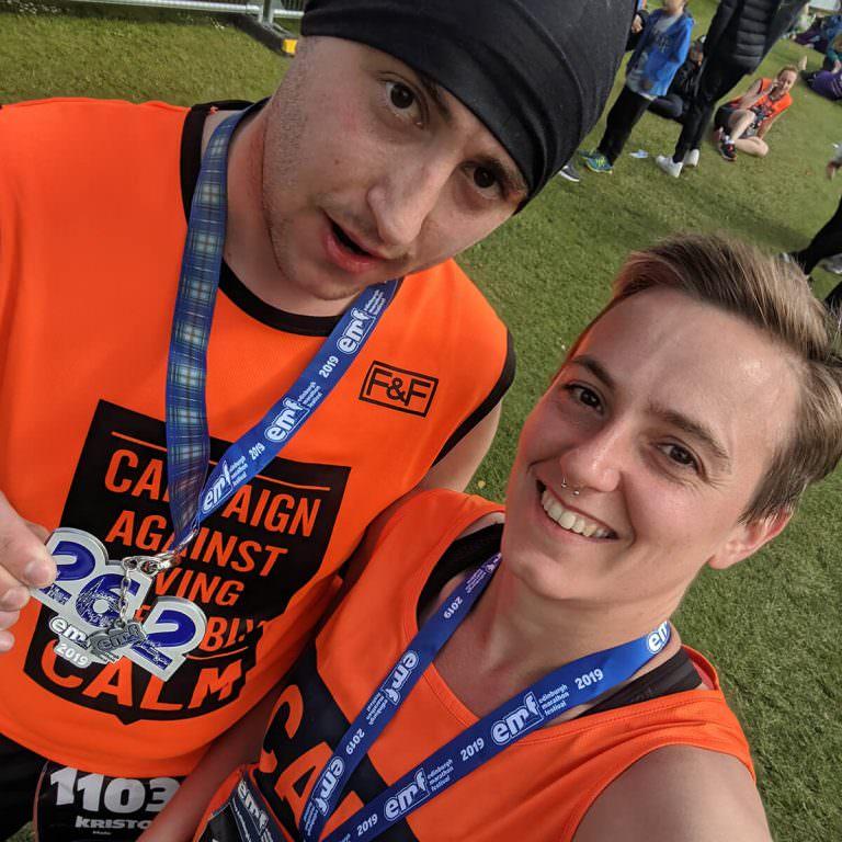 jem and kris edinburgh marathon finish